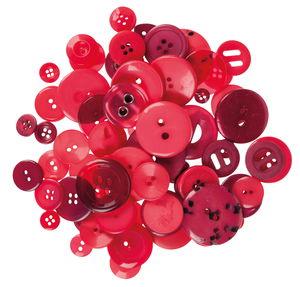 Kunststoff-Knöpfe, 100 g Rottöne