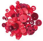 Botones de plástico, 100 g, tonos rojos