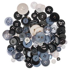 Kunststoff-Knöpfe, 100 g Schwarz-/Grautöne