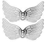 Metalen ornament 'Vleugel', platinakleur, 2 stuks
