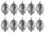 Ciondoli foglie, 51x95mm, argento, 10 pezzi
