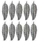 Ciondoli foglie, 30x95mm, argento, 10 pezzi
