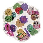 Houten knopen - figuren, kleurrijk, 33 stuks