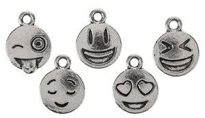 Colgantes de metal - Smiley (10 mm) 5 ud.