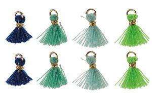 Borlas con corchete (10 mm) verdes y azules, 8 ud.