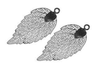Colgantes de metal - Hoja, color platino, 2 ud.