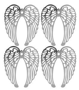 Metalen - Vleugels, platina, 4 stuks
