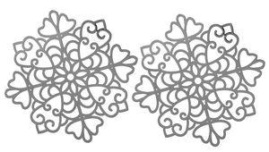 Metalen ornamenten, platinakleur, 2 stuks