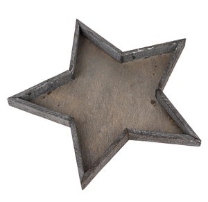 Holz-Deko Tablett Stern grau  (40 x 3 cm)