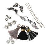 Pompons à oeillet - Ange gardien, noir/gris