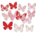 Papieren vlinders, roodtinten, 12-delig