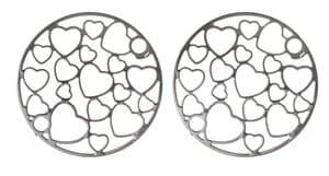 Metallzwischenteil Herzchen, 2 Stück rund (20 mm)