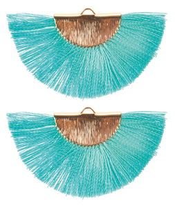Gland éventail env. 45x25mm, x2, turquoise