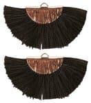 Quaste Fächer, 2 Stück schwarz  (45 x 25 mm)