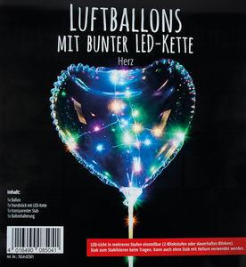 Luftballon mit LED-Lichterkette, Herz (300 mm)