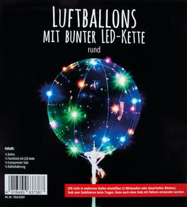 Ballon met LED-lichtketting - Bol (300 mm)