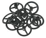 Stuur-/wagenwielen (ø 37 mm) zwart, 10 stuks