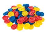 Kunststof wielen (40 mm) bont, 100 stuks
