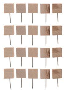 Chinchetas con cabeza cuadrada de madera, 20 ud.