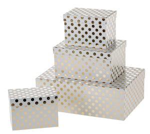 Geschenkboxen, 4er-Set weiß/gold