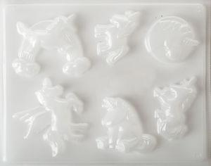 Gietvorm - Eenhoorn (5 - 6 cm) 6 motieven