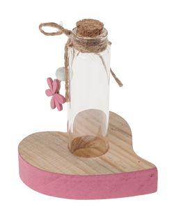 Deko-Herz mit Glasfläschchen, natur/rosa (7x9 cm)