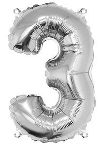 Globo de papel de aluminio - Número '3' (40 cm)
