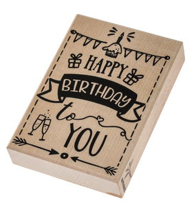 Houten stempel met tekst 'Happy Birthday'