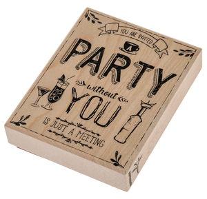 Houten stempel met tekst 'Party'