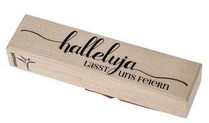 Houten stempel met tekst 'Halleluja'