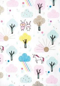 Katoenen stof Wonderland (50x140cm) bont/hot foil