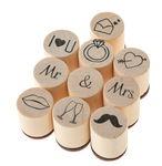 Lote de sellos mini de madera Marry, 10 piezas