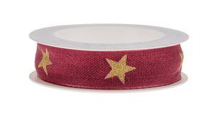 Band - Sterren (2m x 15 mm) bessen/goud
