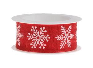 Band - Sneeuwvlokken (2m x 25 mm) rood/wit