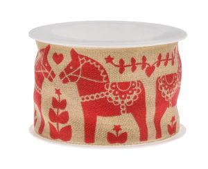 Band - Paarden (2m x 40 mm) rood/beige