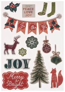 Papieren stickers - 3D Christmas, 14 stuks