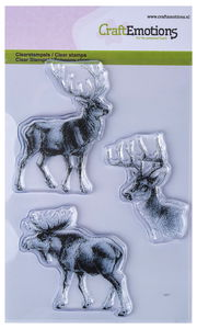 CraftEmotions Clear Stamp, 3er-Set Rentier  (A6)