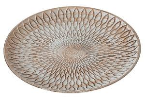 Holz-Teller mit Struktur, natur/geweißt (30 cm)