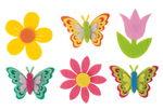 Streuteile Filz, 12 Stück Spring (6 Motive)