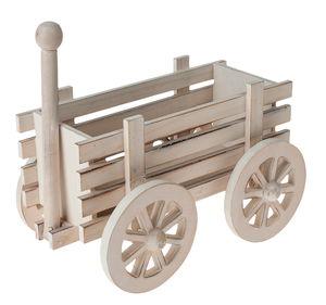 Houten hooiwagen (22 x 14,5 x 13,5 cm) wit