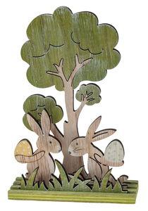 Houten hazen & boom (13 x 4 x 19 cm) groen/geel
