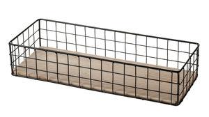 Metalen draadmand met houten bodem (40x15x8 cm)