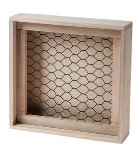 Boîte en bois avec treillis métallique, 20x5x20cm