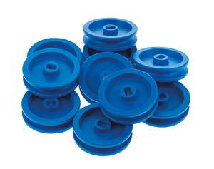 Katrolwielen (ø 30 mm) lang gat, blauw, 10 stuks