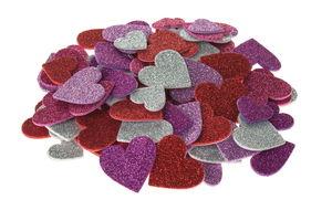 Glitter-Moosgummi Herzen, 100 Stück selbstklebend