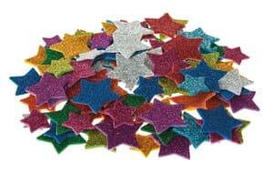 Glitter-Moosgummi Sterne, 100 Stück selbstklebend