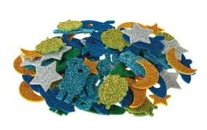 Glitter-Moosgummi Weltraum, 100 Stück selbstkl.