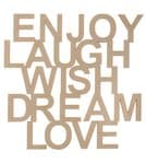 Houten tekst - Enjoy Laugh Wish Dream Love
