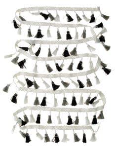 Bordure de pompon, 4,5cm X 2m , noir/blanc/gris