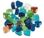 Glas-Nuggets Herzen 350 g bunt (26 x 25 x 14 mm)